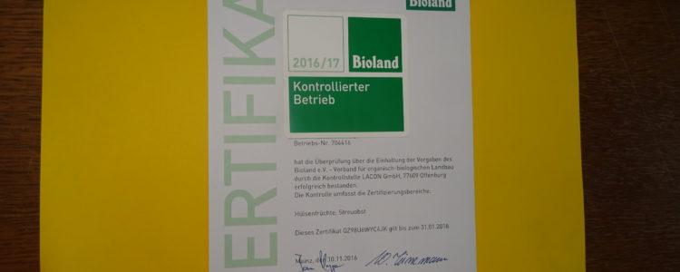 Bioland Zertifikat