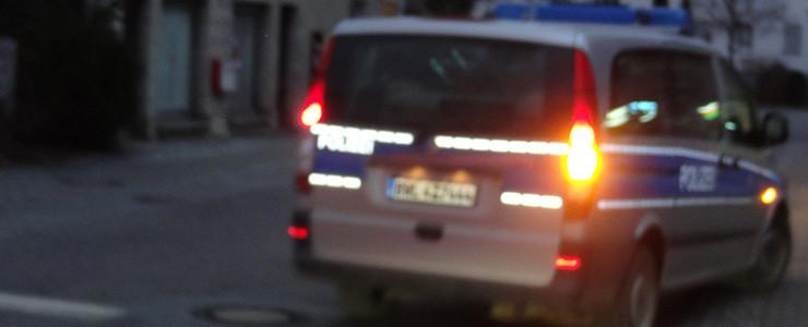 Polizeiauto Abfahrt Volksbank Altshausen