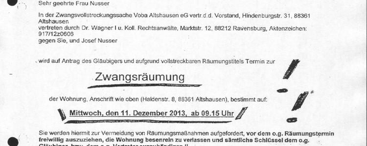 Zwangsräumung Irmgard Nusser Dez. 2013