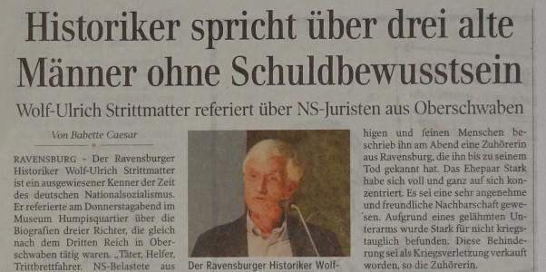 Bericht über Wolf-Ulrich Strittmatter in Schwäbische Zeitung