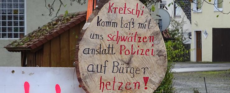 Protestscheibe für Kretschmann