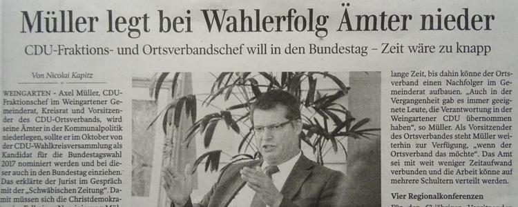 Müller legt bei Wahlerfolg alle Ämter nieder