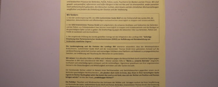 Flugblatt mit den Forderungen nach Rechtsstaatlichkeit