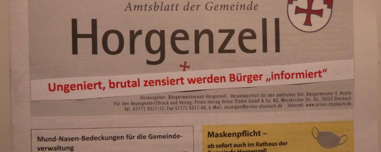 Mitteilungsblatt Horgenzell Zensur